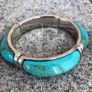 Turquoise Stretchy Bangle Bracelet by Cookie Lee